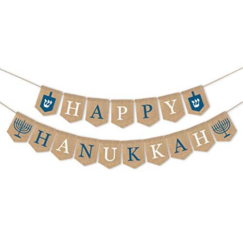 Amosfun glücklich Chanukka Banner Sackleinen Buchstaben Girlande Ammer hängen Baum Anhänger Urlaub Party Dekoration Ornament 1pc