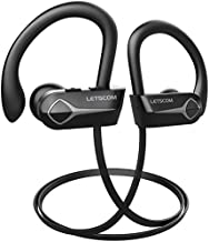 Letscom Bluetooth Headphones, 15Hrs Playtime Wireless 5.0 Earbuds IPX7 Waterproof Sport Running in-Ear Headsets w/Mic Stereo Sound Noise Cancelling for Work Home Office