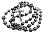 Nazareth Store Black Agate Matte 8mm Beads Rosary Hematite Stones Prayer Jerusalem Holy Soil Medal Cross Antique Religious Rosaries Beads Collection