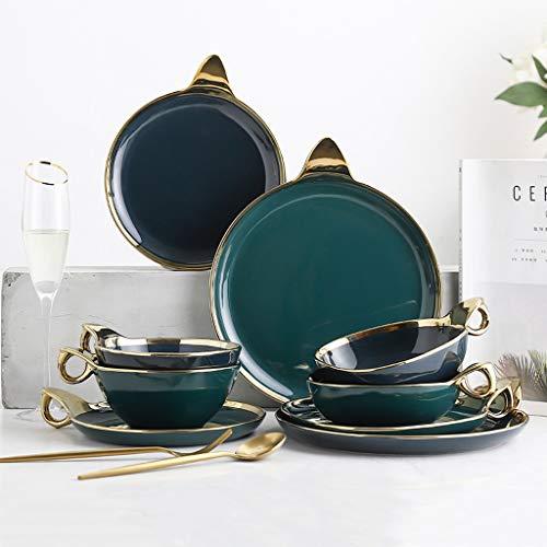Porcelain Dinnerware Set, 16 Plate / 12 Bowl | 28 Pieces Ceramics Dinner Sets with Ring Handle - Light Luxury Phnom Penh Steak Tableware Combination Set