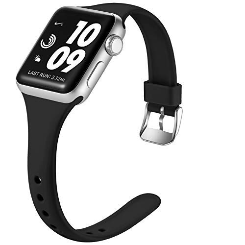 Laffav Sport Band Compatible with Apple Watch 40mm 38mm iWatch SE & Series 6 & Series 5 4 3 2 1 for Women Men, Black, S/M