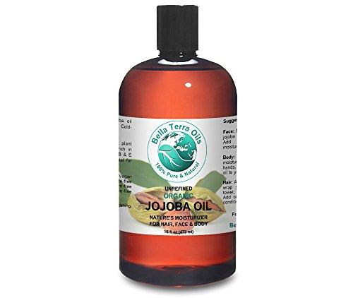 Jojoba Oil 16 oz 100% Pure Cold-pressed Unrefined Organic Skin and Hair Moisturizer - Bella Terra Oils