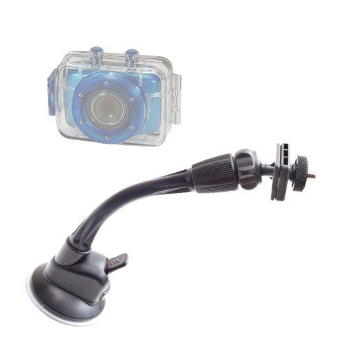 DURAGADGET Support parebrise/Fixation à Long Bras pour caméra embarquée Vivitar DVR785HD-BLU 5MP Pro et DVR995WHD-GRP-IT caméscope étanche