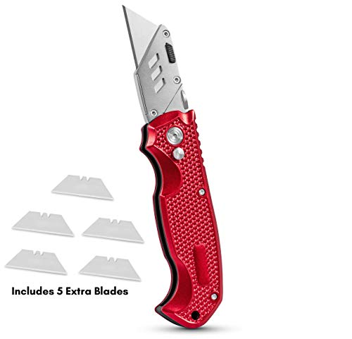BirdRock Home Premium Utility Knife - Retractable Razor Knife Set - Extra Blade Refills - Box Cutter Locking Razor Knife (Premium Utility Knife - Red)