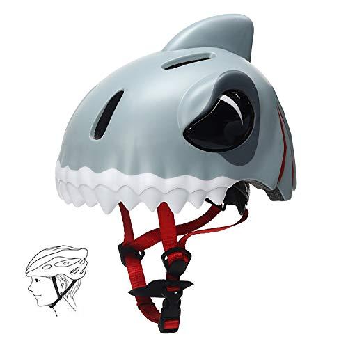 Grist CC Kinder Helm Sporthelm 3-12 Jahre alt Leichter Atmungsaktiv Fahrradhelm Kinder Tier Form für Skateboard(Hai)