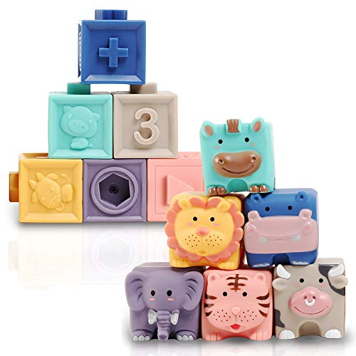Baby Blocks, Soft Stacking Building Blocks Baby Toy 6 to 12 Months Toddlers Boys & Girls, Safe Teething Chewing Toys for 9-18 Month, Squeeze Sensory Toys, Infant Bath Toy for Toddlers for 1 2 Year Old