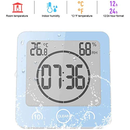 WQTT Badkamer Klok Digitale vochtigheid Temperatuur Digitale klok Timer Klok LCD-scherm Touch Control Timer Alarm voor keuken Badkamer (Color : Blue)