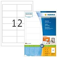Herma 462396.5X 42.3mmカラーレーザー用紙長方形プレミアムマルチ機能ラベル–マットホワイト(2400ラベル、12perシート)