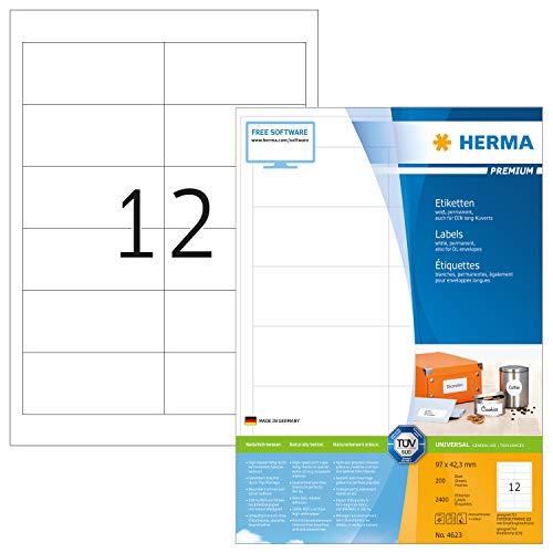 Preisvergleich Produktbild HERMA 4623 Universal Etiketten DIN A4 (97 x 42, 3 mm,  200 Blatt,  Papier,  matt) selbstklebend,  bedruckbar,  permanent haftende Adressaufkleber,  2.400 Klebeetiketten,  weiß