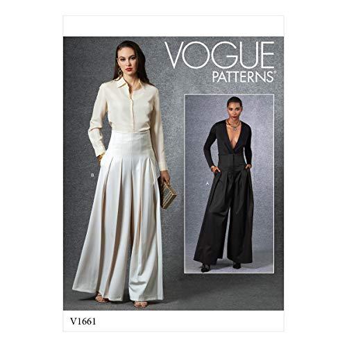 Vogue Patronen-V1661A-MISSES-SKIRT/Broek, Papier, Diverse, S-M-L-XL
