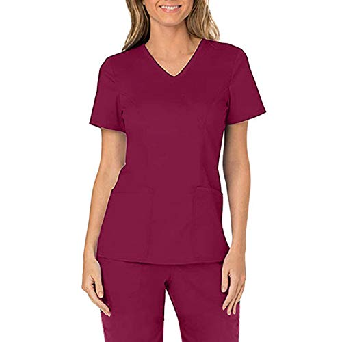 Xmiral Solid Color V-Neck Nurse Uniform for Women Slim Fit Workwear T-Shirt with Two Pockets(Red,S)