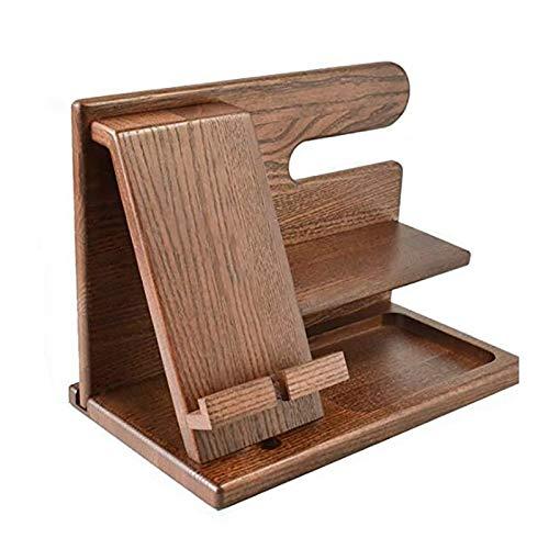 Ctzrzyt Soporte para la Madera TeléFono EstacióN de Ceniza Key Holder Soporte de la Carpeta del Reloj Organizador Hombres Regalo de Viaje de GraduacióN Masculino Gadgets Idea