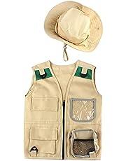 Explorer-vestset voor kinderen, safarikostuum voor in de achtertuin, set van vrachtvest en hoed, aankleden voor parkwachter, paleontoloog, buitenspeelgoed voor jongens en meisjes