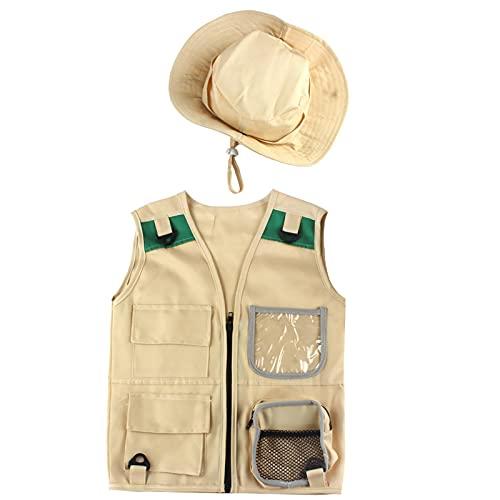 Kit de chaleco explorador para niños, disfraz de safari en el patio trasero, conjunto de chaleco y sombrero de carga, disfraz para guardabosques, paleontólogo, juguetes para exteriores