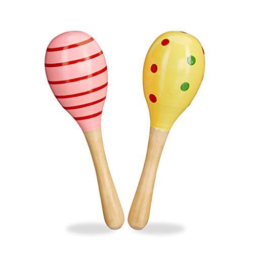 Relaxdays 10024354, rosa/gelb Maracas Holz 2er Set, Rassel, pädagogisch wertvolles Musikspielzeug für Kinder, kleine Holzrassel