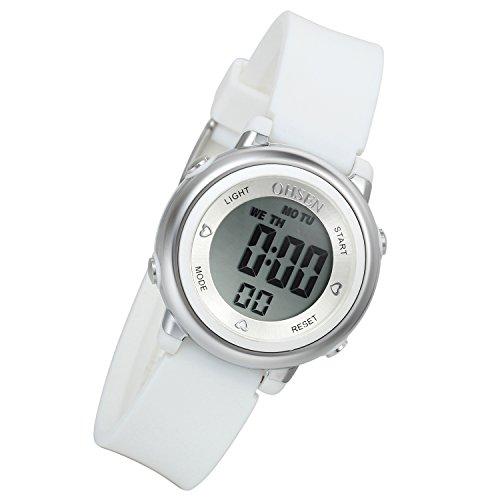 Lancardo Reloj Deportivo Digital de Multifunciones Impermeable de 50m Pulsera Electrónica con Luces Correa de Caucho para Deportes Exteriores para Niños Chicos (Blanco)