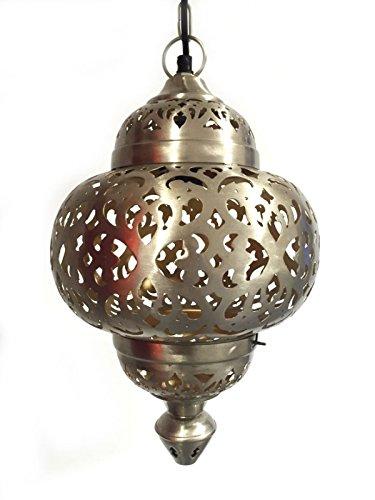 Orientalische Lampe Pendelleuchte Silber Aruna 40cm E27 Lampenfassung   Marokkanische Design Hängeleuchte Leuchte aus Indien   Orient Lampen für Wohnzimmer, Küche oder Hängend über den Esstisch