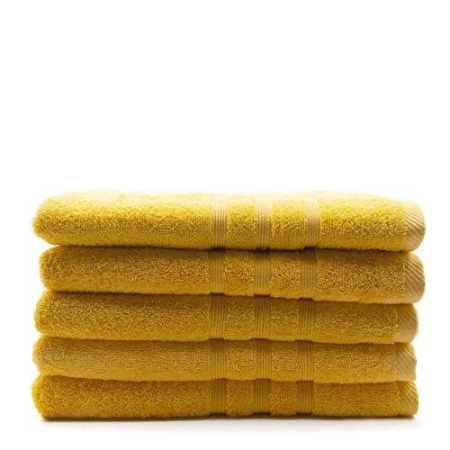 TODAY Lot de 5 Draps de Bain Safran - 70 x 130 cm - 100% Coton
