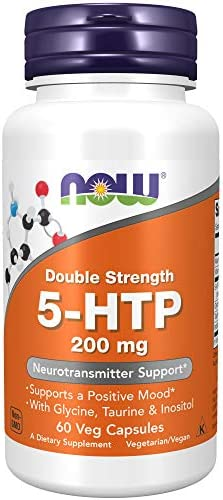 NOW Supplements, 5-HTP (5-hydroxytryptophan) 200 mg, Double Strength, Neurotransmitter Support*, 120 Veg Capsules