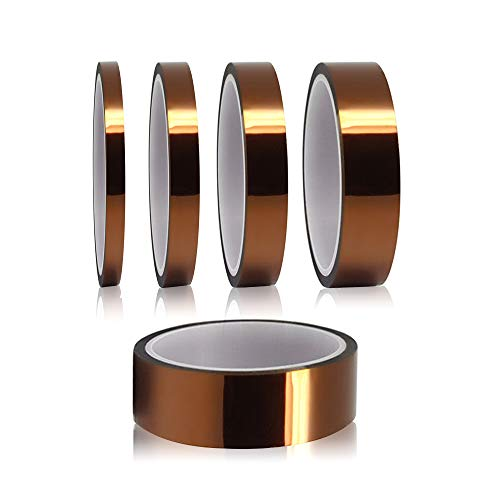 YIXISI 5 Piezas Cinta de Alta Temperatura Cinta Adhesiva Kapton para Soldar por Transferencia de calor y aislamiento (3mm / 6mm / 8mm /12mm / 25 mm x 33 m)