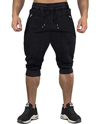 CRYSULLY Men's Drawstring Shorts Slim Summer Harem Twill Capri Yoga Pants Black
