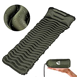 Unigear Camping Sleeping Pad, Inflatable Airbed Camping, Sleeping Mat for Outdoor, Moisture Resistant Waterproof and Non-slip, MULTIWAY (Army Green with Cushion)