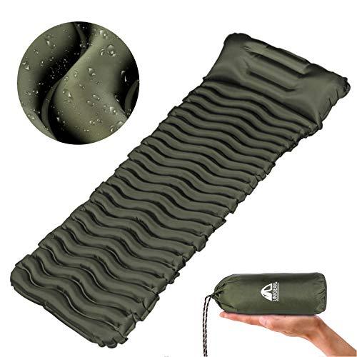 Unigear Camping Isomatte, nadmuchiwany materac powietrzny Camping, mata do spania na zewnątrz, odporna na wilgoć, wodoodporna i antypoślizgowa, wielokrotnego użytku (zieleń wojskowa z poduszką)