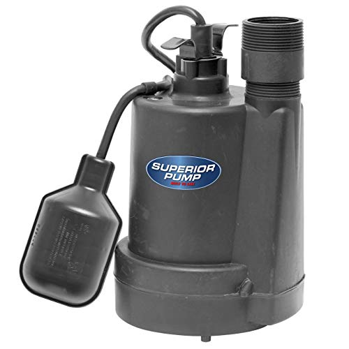 Superior Pump 92250 Thermoplastic Submersible Sump Pump with Tethered Float Switch, 1/4 HP, Black