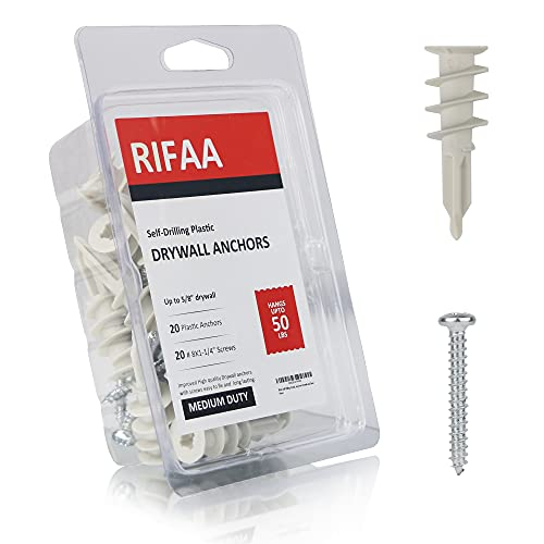 RIFAA Self Drilling Drywall Anchors and Screws Kit of 40 Pieces - Wall Anchors Holds 50 Lbs - Install Hardware - Mount and Hang from Drywall and Doors