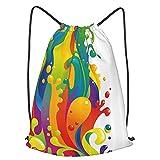 Mochilas de Cuerdas Unisex,Diseño psicodélico contemporáneo de salpicaduras de pintura de color arcoíris,Impermeable Mochila con Cordón,adulto Niños exterior Mochilas Casual,yoga Bolsas de Gimnasia
