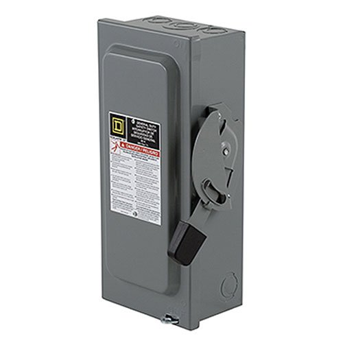 Square D by Schneider Electric D222NCP 60-Amp 240-Volt Two-Pole Indoor General Duty Fusible Safety Switch with Neutral