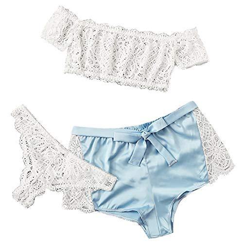 MAWOLY Ultra Kurz T-Shirt Oben Tanga Spitzedamen Damen Set BH Und Slip Push Up Spitze Negligee V-Ausschnitt Dessous Unterwäsche