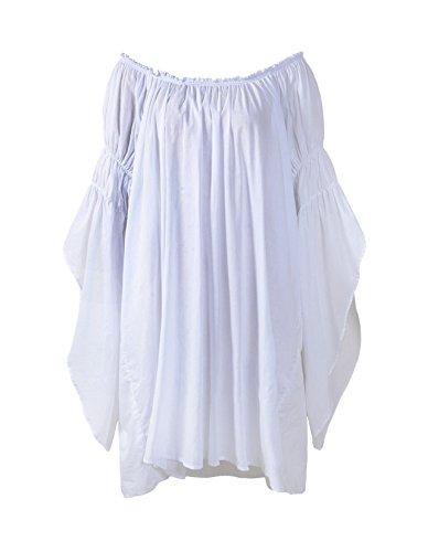 ReminisceBoutique Renaissance Medieval Peasant Dress Up Pirate Faire Celtic Blouse, White, One Size