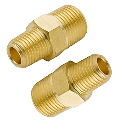 Legines Brass Pipe Fitting, Reducing/Reducer Hex Nipple, NPT Male (Pack of 2)