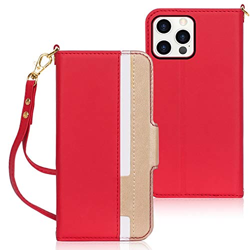 Fyy Coque pour iPhone 12/12 Pro en cuir PU de qualité supérieure ultra fine avec support de carte pour Apple iPhone 12/12 Pro 15,5 cm (2020) Rouge/doré
