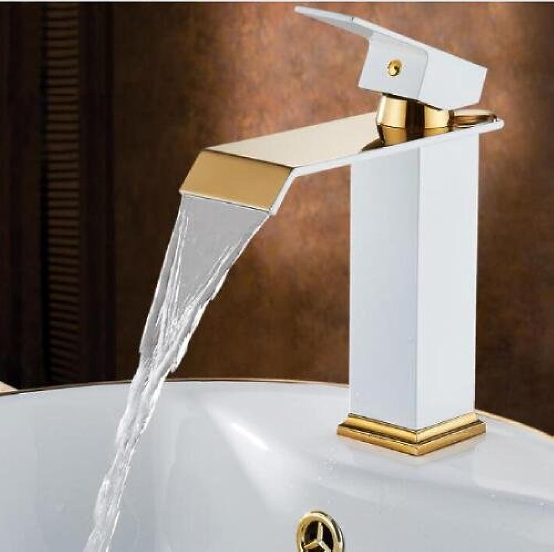 Neue High-End-Badezimmer Wasserhahn Badezimmer Wasserhahn Warmes und kaltes Wasser Wasserhahn kurz wei und Gold