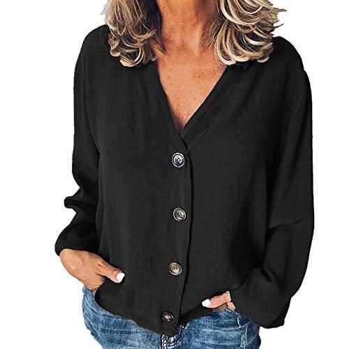NP T-shirt met V-hals en knopen voor dames, blouse met lange mouwen - zwart - S