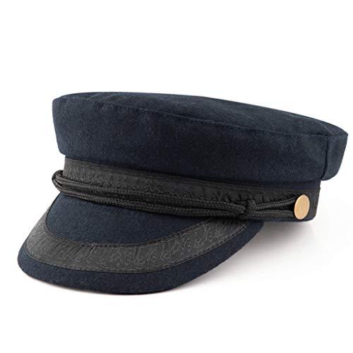Gorra de Estilo Marinero Azul Marino Sombreros de Calidez del ejército Militar Sombreros de Lana de Fieltro Sombrero de Hombre de Hueso Grande Plano Botón de ala de Gran tamaño Cuerda más tamaños