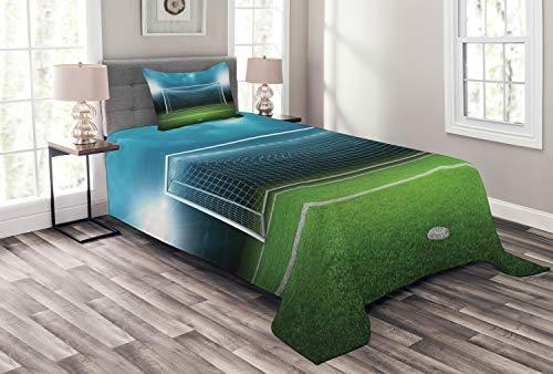ABAKUHAUS Fußball Tagesdecke Set, Fußball-Fußball-Spiel, Set mit Kissenbezug Mit Digitaldruck, für Einselbetten 170 x 220 cm, Grün Blau