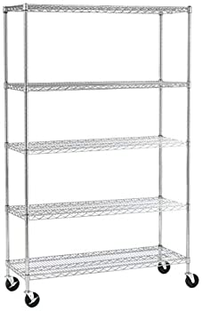 SafeRacks NSF Certified Commercial Grade Adjustable 5-Tier Steel Wire Shelving Rack with 4  Wheels - 18  x 48  x 72   18 x48 x72  5-Tier