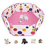 Casifor <span class='highlight'>Small</span> <span class='highlight'>Animal</span> Cage Pent Pet <span class='highlight'>Playpen</span> for Rabbit/Guinea Pig/<span class='highlight'>Mat</span>/Hamsters/Hedgehog/Puppy Play Pen Exercise (Pink dots (waterproof))