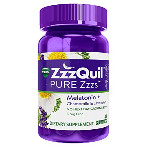 ZzzQuil Melatonin Gummies, Chamomile & Lavender, 48 ct, Wildberry Vanilla