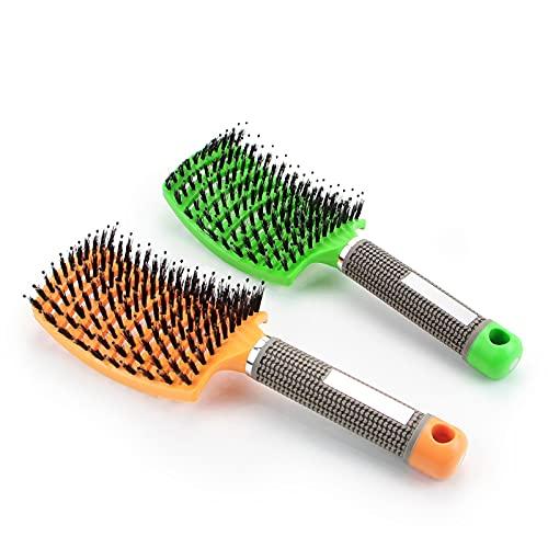 Spazzola districante per capelli, con setole di cinghiale e setole di cinghiale, per acconciature (2 pezzi)