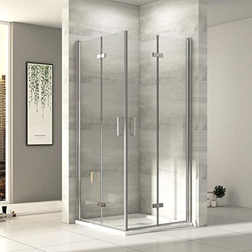 EMKE 90x90cm Eckeinstieg Duschkabine mit NANO einfach-Reinigung Beschichtung 6mm Sicherheitsglas Duschtür 195cm Höhe ohne Duschwanne