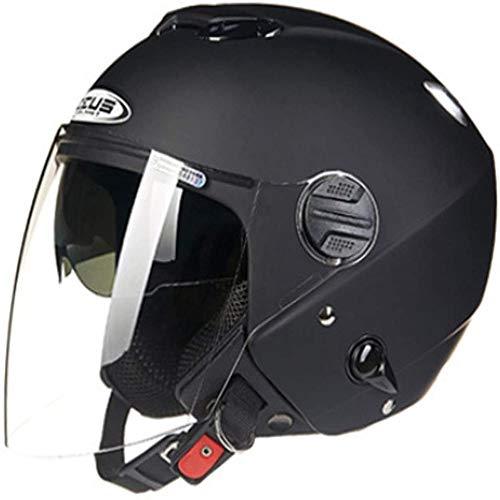ZHXH Open Face Crash Helme Für Motorräder, Harley Motorcycle Chopper Helm mit Sonnenblende und integrierter Schutzbrille-Zertifizierung Summer Jet Helm