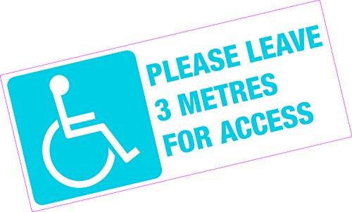 Bitte hinterlassen 3 m für den Zugang von Behinderten Rollstuhl Taxi-Aufkleber, Vinyl