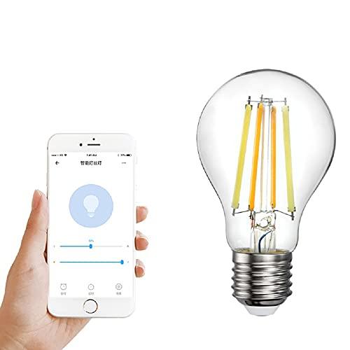 Bombilla de filamento inteligente Ewelink de 220 V WiFi con control remoto de 2700 a 6500 K, bombilla bicolor E27 de 7,5 W, apta para dormitorio familiar, sala de estar, sala de estudio