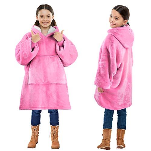 Kato Tirrinia Übergroße Sherpa Hoodie Sweatshirt Decke, SuperWeiche Warme Riesen Hoodie Fronttasche Giant Plüsch Pullover Decke mit Kapuze for Jungen Mädchen Teen Kinder, Hot Pink