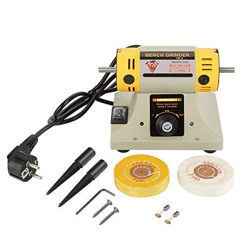 Amoladora de torno, 350W 220V 0-10000r/min Enchufe multifuncional UE Máquina de pulido eléctrica de baja vibración Tornillos de llave Allen Ruedas para banco de trabajo Lijado de madera Abrasivo
