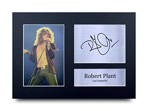 HWC Trading Robert Plant A4 Sin Marco Regalo De Visualización De Fotos De Impresión De Imagen Impresa Autógrafo Firmado por Led Zeppelin Aficionados A La Música